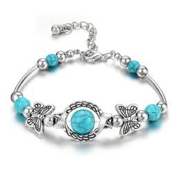 Sfera Cracked della resina del turchese della Boemia naturale del braccialetto con la farfalla unica che intaglia i monili Esg13595 della spiaggia
