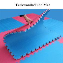 Großhandel EVA Taekwondo Tatami Puzzle Mat 2,5cm Verschließende Bodenmatte Rot Schwarz Blau Gelb Farbe für Fitness und Sport