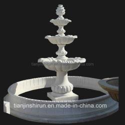 Открытый бассейн резного мрамора белого камня пьедестал воды сад пейзаж Фонтан (XF903)