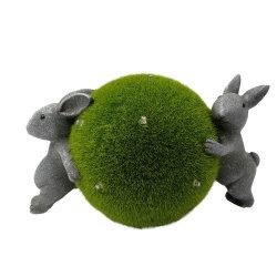 卸し売り防水庭の芝生の装飾の樹脂のウサギの彫像押しは太陽ライトが付いている球を群がらせた