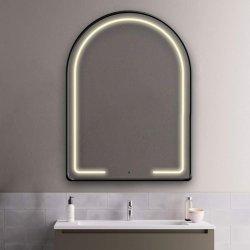 LEDが付いている黒い半楕円形の金属フレームは浴室の壁ミラー、反霧のDimmableの接触スイッチ虚栄心の構成ミラーをつける