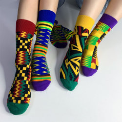 Ultime stampe africane Kente modello alla moda unisex calze lunghe