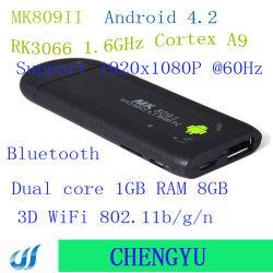 MK809 II Android 4.2.2 verdoppeln Mini-PC-FernsehapparatDongle Rockchip Rk3066 1.6GHz Rinde A9 Kern 1GB Fernsehapparat-Kasten DES RAM-8GB Bluetooth Mk809II 3D