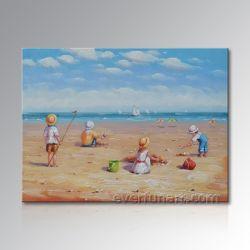 Hauptdekoration-Segeltuch-Kunst-Strand-Kind-Ölgemälde (EIF-246)