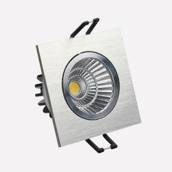 Sliver brossé Square Downlight encastré 8W COB LED avec découper 68mm