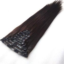 Черный шелковистой прямой бразильского Virgin прибора Clip в человеческого волоса добавочный номер