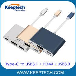3 in 1 Typen-c USB3.1 HDMI USB3.0 zum Typen-c Palladium-Ladung-Naben-Adapter-Kabel