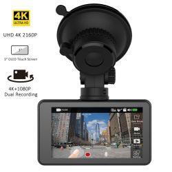 4Kはダッシュのカメラ3840 X 2160p HD 4Kの前部および1080P後部車のWiFi GPSのダッシュカム超二倍になる