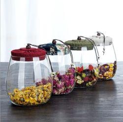 Gran Corcho tetera de vidrio cubierta de tela creativo sellado transparente bote de caramelos de Té de Flor de la botella de almacenamiento de grano Pot