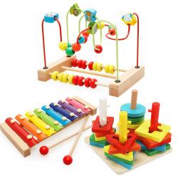 목조 비즈 마즈 아바쿠스 기하학적 스태킹 블록 xylophone 세트 장난감 아이들을 위한 1년 더 오래된 교육 형태 컬러 소터 나무 베이비 보이즈 걸스를 위한 장난감