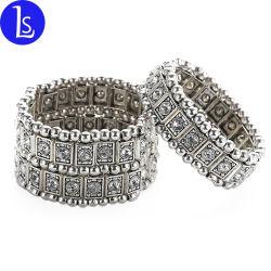 Liga de zinco artesanais jóias Fashionm Rhinestone Crystal Bracelete mulheres elástica