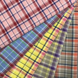 La alta calidad 100% de los hilados de algodón teñido verificar tejida tejido Shirting