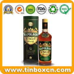 Round Caixa de estanho Whisky, Vodka lata, Vsop Latas de Vinho