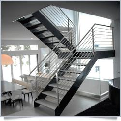 Prima utilisé en plein air en métal avec main courante droite de l\'escalier  escalier Design
