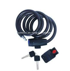 Bicicleta de bloqueo de cable en espiral con 2 llaves y el soporte de montaje
