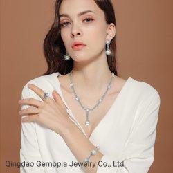 Nova chegada 925 jóias de prata Pearl com óxido de zircónio Conjunto completo para senhora