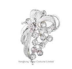 リボンのブローチの花嫁の花束のラインストーンの水晶ブローチの女性Pinの銀製カラーによって模倣される真珠(BR-11)
