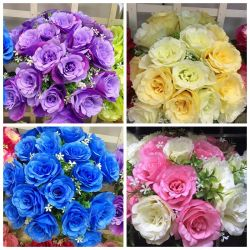 Direction générale de la Rose artificielle 18 Bouquet de fleurs de soie Décoration de table de mariage de l'artisanat d'accueil