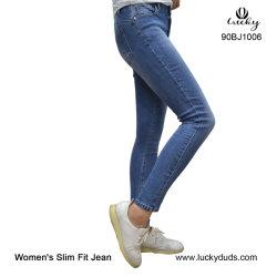 バルク青いデニムの細いジーンズの女性のジーンズ