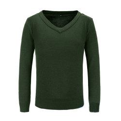 남자의 우연한 스웨터 스웨터, 육군 녹색/까만 간격 내복, 뜨개질을 하는 가득 차있는 소매 남자의 군 스웨터