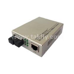 1X 10/100/1000BASE-TX RJ45 a 1X 1000BASE-FX de modo único e simples fibra Sc Media Converter 20km