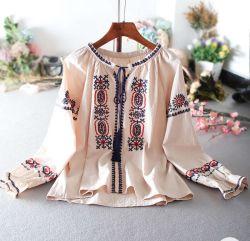 Form-Stickerei-beiläufige runde Stutzen-BaumwollLong-Sleeved Bluse 2020 Sommer-Frauen