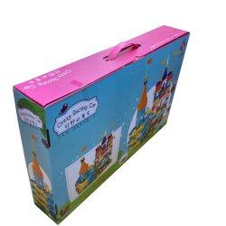 직사각형 아이 장난감 벽돌 차 견면 벨벳 장난감 종이 선물 패킹 손잡이를 가진 포장 판지 상자를 접히는 제조자 주문 로고에 의하여 인쇄되는 골판지