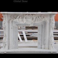 De witte Marmeren Afdekplaat van de Open haard met het Snijden van de Bloem voor BinnenDecoratie (gsmf-800)