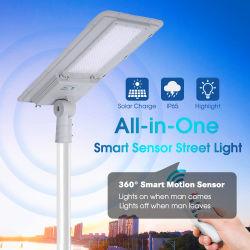 LED all-in-one 50 W 80 W 100 W 120 W 150 W 180 W. Luce solare stradale integrata con sensore di movimento