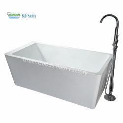 Vasca di bagno rettangolare profonda di plastica del ghisa con il rubinetto indipendente
