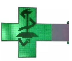 2면 싱글 녹색 약국 크로스 LED 디스플레이 표지 P10 DIP 녹색 LED 교차 화면