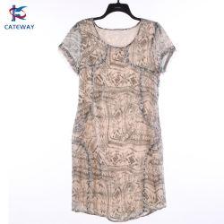 Seda Camo feitos à mão-de impressão Hem Glandes Forrada Senhoras MIDI vestido para homens/mulheres