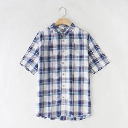 Venda por grosso de roupa para homens Plaid Slim Fit de algodão no Outono de Primavera da marca Casual Masculino camisas de manga curta