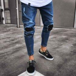 Último diseño delgado tramo Nuevo estilo de los hombres pantalones vaqueros pantalones vaqueros lavados angustiado Rip