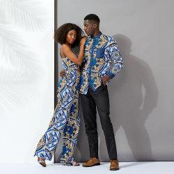 Impressão africana estilo étnico homens camisa de manga longa desgaste do casal