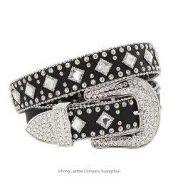 Verre clair Western Crystal Berry Rhinestone Bling Cowgirl ceinture en cuir noir pour Womens