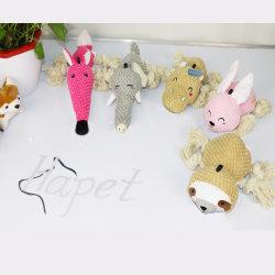 De aangepaste van de Katoenen van het Embleem Interactieve Hond van de Vorm van het Beeldverhaal Pluche van het Linnen kauwt Stuk speelgoed