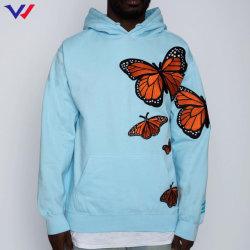 Poleron Factory L저가 Hooded Sweat셔츠 도매 풀오버 후디 Custom Blue 캥거루 버터플라이 프린트 후디 Suadera
