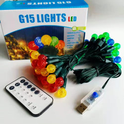 Warm wit C6 LED-lamp met groothoek en kerstverlichting, groen/zwart Draad werkt op batterijen met 8 modi voor afstandsbediening