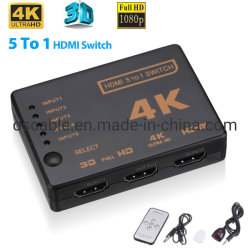 5 a 1 do Interruptor do Seletor de divisor HDMI 1080p Full HD 3D 2K RF 4K Cubo remoto de infravermelhos