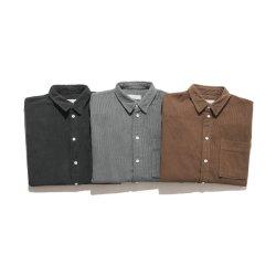 عالة تصميم 100% قطن غلّة كرم عرضيّ طويلة كم [منس] مخمل مضلّع قميص