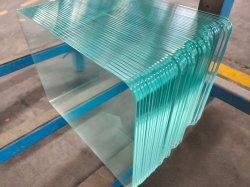 4-12mmの安全建物の浴室のゆとりの平たい箱はテーブルの上の柵によって強くされた緩和されたガラスを曲げた