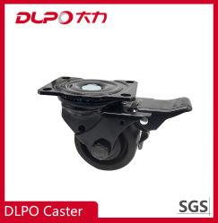 Dlpo von geringer Schwerkraft flaches mechanisches Gerät Hochleistungs-PA-Fußrollen-Rad mit Metalldoppelt-Bremse