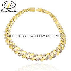 Überzogene Schmucksache-Halskette der Formhiphop-kubanisches Link-Ketten-18K Gold