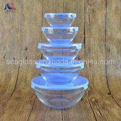 5pcs el tazón de vidrio de vidrio/Set/almacenamiento de material de vidrio con tapa de plástico
