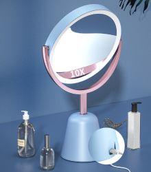 مرايا السفر الصغيرة مرآة التجميل إضاءة LED ذات جهة مزدوجة 1X/10X قابلة للإضاءة في كل مرة إضاءة LED سطح طاولة المرآة إضاءة فانيتي ميرور عاكسة Portable Essg17684
