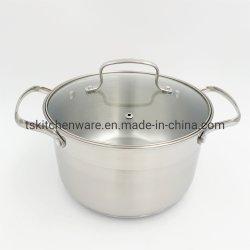 Aço inoxidável panela para Cozinhar caçarola com tampa de vidro 6.0L