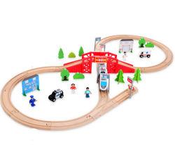 고품질 50개 목재 열차 세트 트랙 세트 철도 놀이 세트 어린이 장난감 기차