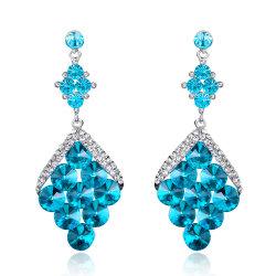 Commerce de gros 2018 Haut de la conception mode féminine Accessoires bijoux mariage Earrings Fashion femmes chute cristal bleu Earrings