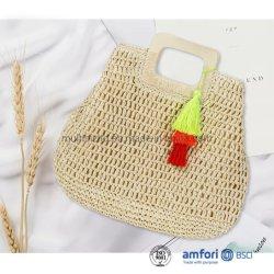 맞춤형 팜 보헤미안 보호가 투트 페이퍼 비치 크로치트 스트로(Tte Paper Beach Crochet Staw)를 자랑했습니다 핸드백
